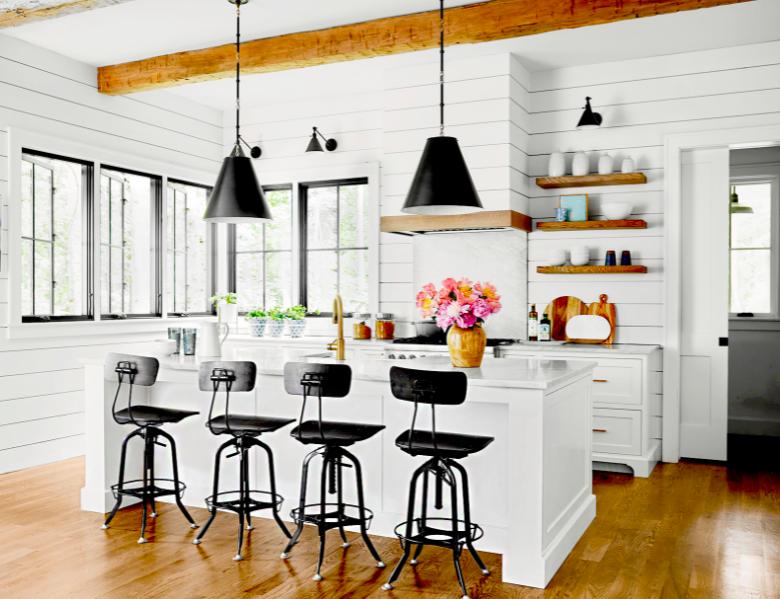 Farmhouse kitchen with white kitchen cabinets