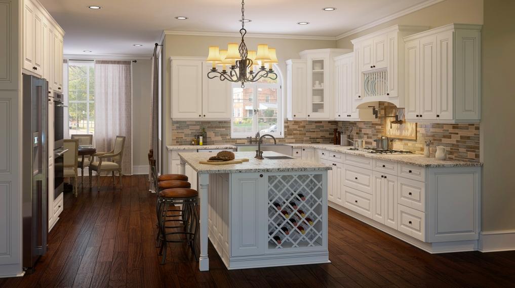 White - gray - rose - brown kitchen cabinet