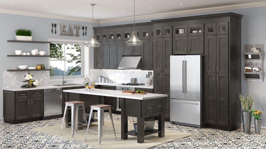 dark grey shaker cabinets are the perfect transitional style
