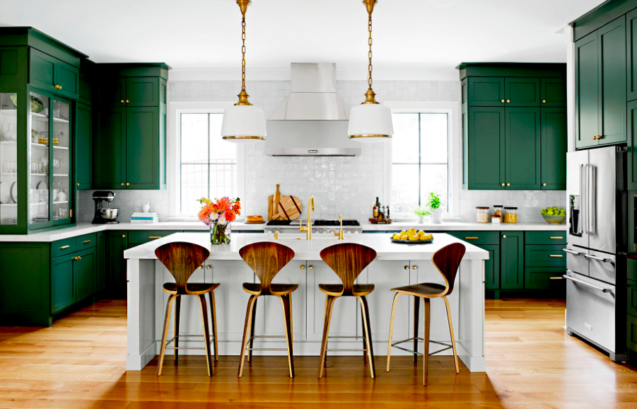 Farmhouse kitchen cabinets in jewel tones