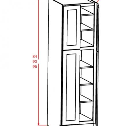 U249024 Wall Pantry Cabinet 24 inch by 90 inch by 24 inch Sheffield White