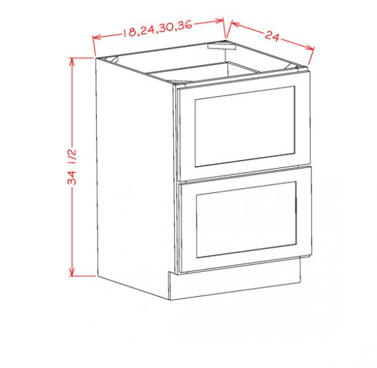 CS-2DB36 - 2 Drawer Base - 36 inch