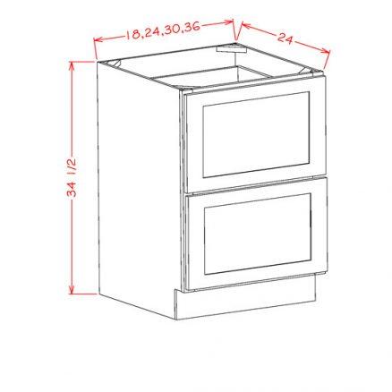 YW-2DB18 - 2 Drawer Base - 18 inch