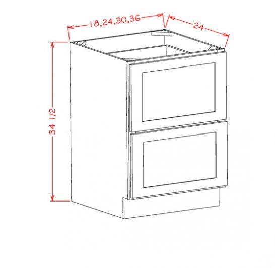 YW-2DB24 - 2 Drawer Base - 24 inch