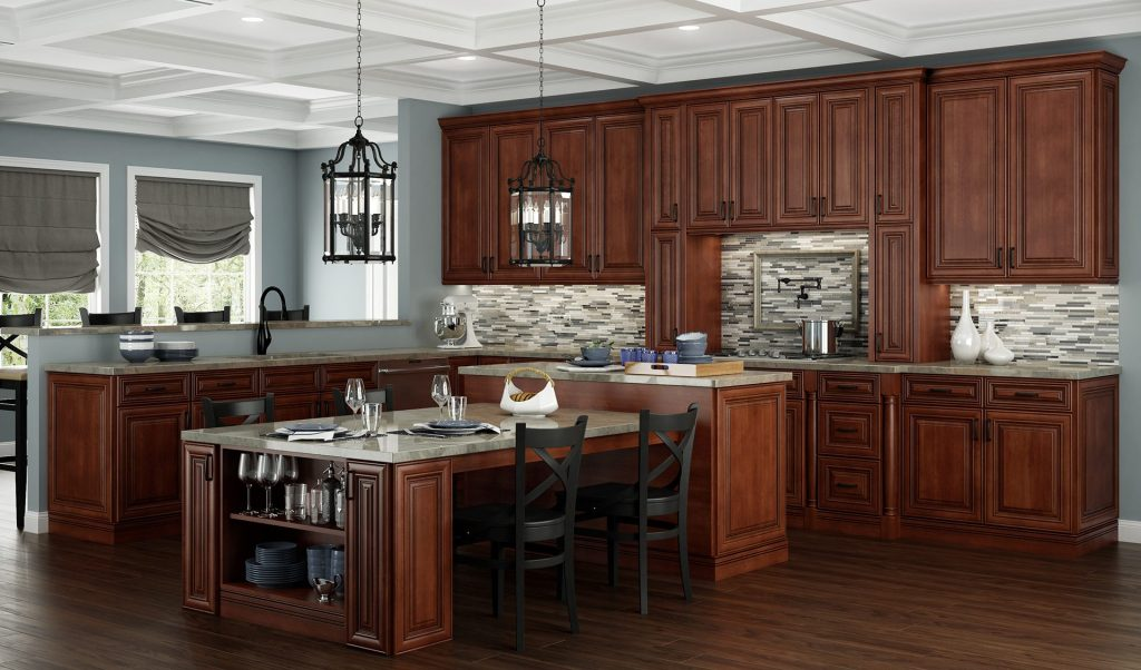 dark cabinets in beautiful sable, neutral grey walls