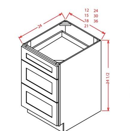 YW-3DB12 - 3 Drawer Base - 12 inch