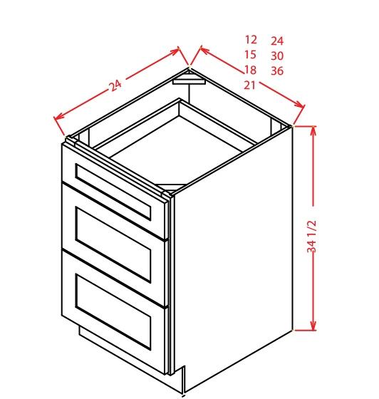 YW-3DB21 - 3 Drawer Base - 21 inch