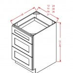 SD-3DB12 - 3 Drawer Base - 12 inch