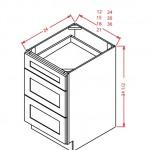 SD-3DB12 - 3 Drawer Base - 12 inch
