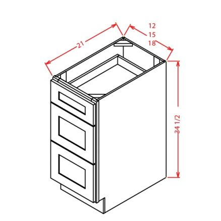 YW-3VDB12 - Vanity Drawer Base - 12 inch
