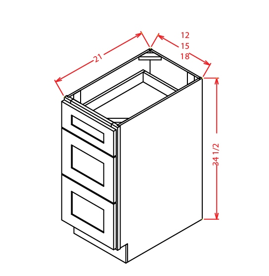 SG-3VDB18 - Vanity Drawer Base - 18 inch