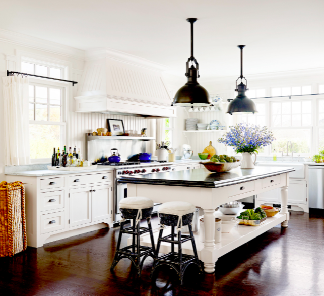 Classic white Shaker-style cabinets in this farmhouse kitchen