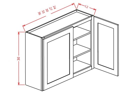 """CW-W2730 - 30"""" High Wall Cabinet-Double Door  - 27 inch"""
