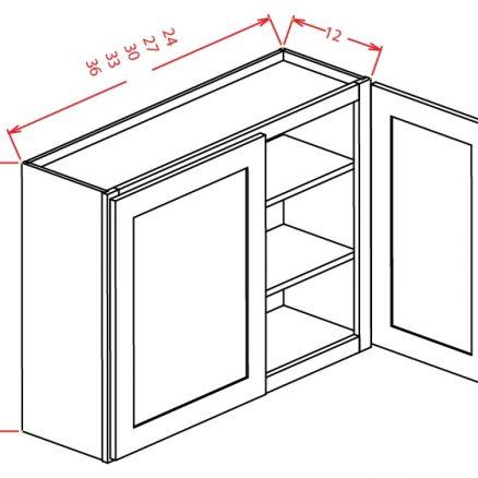 "TD-W3330 - 30"" High Wall Cabinet-Double Door  - 33 inch"