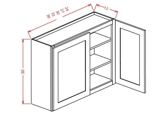 """TW-W3330 - 30"""" High Wall Cabinet-Double Door  - 33 inch"""