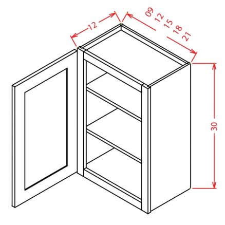 "TD-W1230 - 30"" High Wall Cabinet-Single Door  - 12 inch"