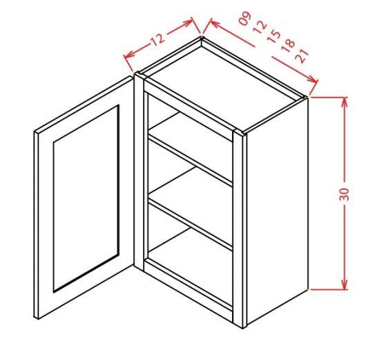 "TW-W1230 - 30"" High Wall Cabinet-Single Door  - 12 inch"