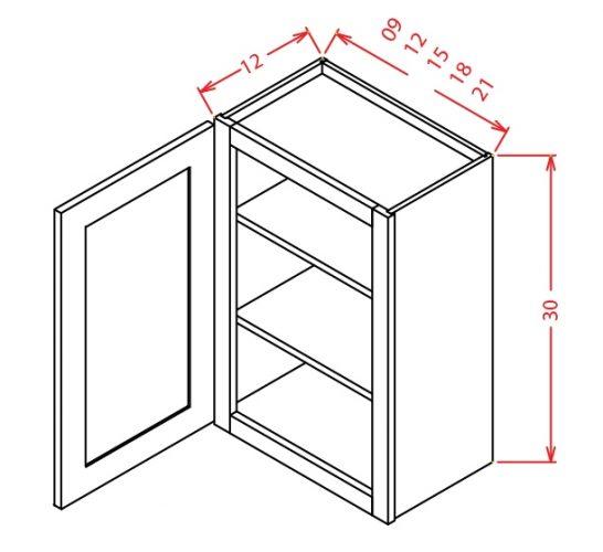 "TW-W1530 - 30"" High Wall Cabinet-Single Door  - 15 inch"