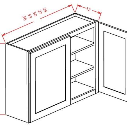 "YC-W2736 - 36"" High Wall Cabinet-Double Door  - 27 inch"