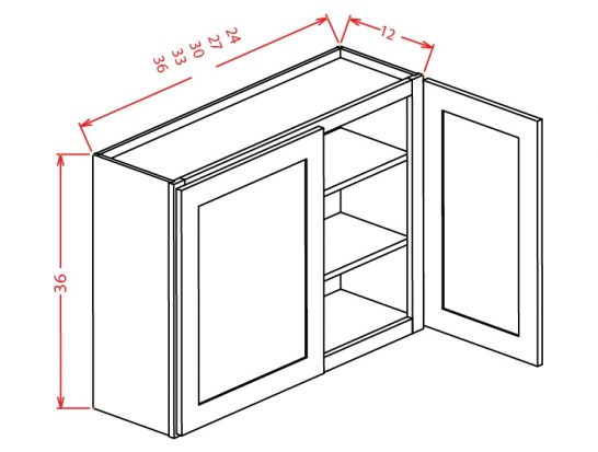 "TD-W3336 - 36"" High Wall Cabinet-Double Door  - 33 inch"