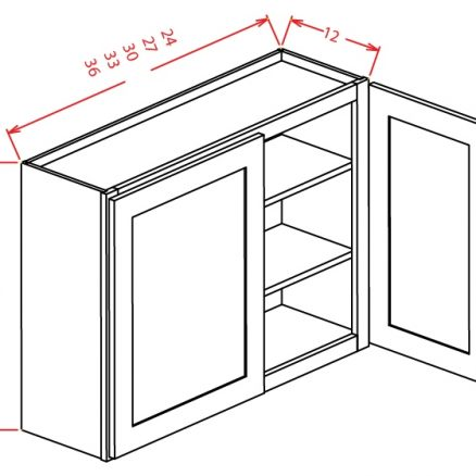 "SMW-W3336 - 36"" High Wall Cabinet-Double Door  - 18 inch"