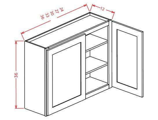 "SW-W3336 - 36"" High Wall Cabinet-Double Door  - 33 inch"