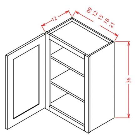 "TW-W0936 - 36"" High Wall Cabinet-Single Door  - 9 inch"