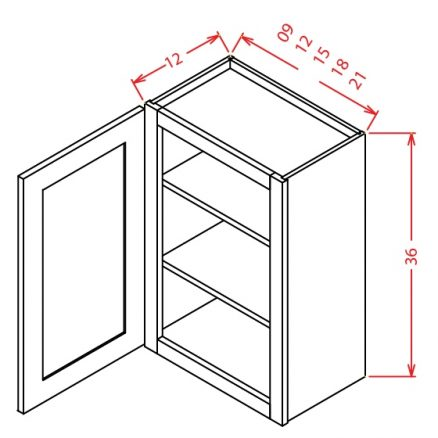 "SW-W0936 - 36"" High Wall Cabinet-Single Door  - 9 inch"
