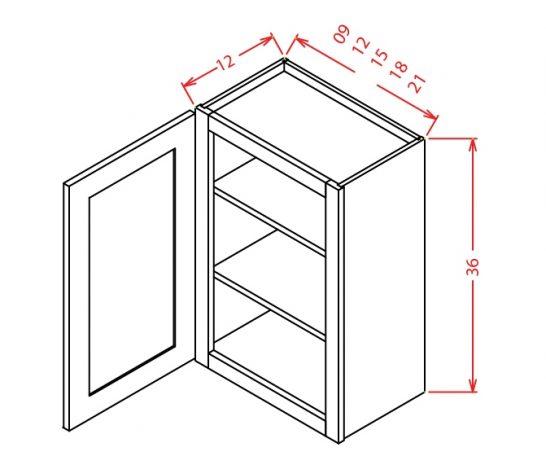"YC-W1236 - 36"" High Wall Cabinet-Single Door  - 12 inch"