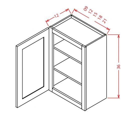 "SE-W0936 - 36"" High Wall Cabinet-Single Door  - 9 inch"