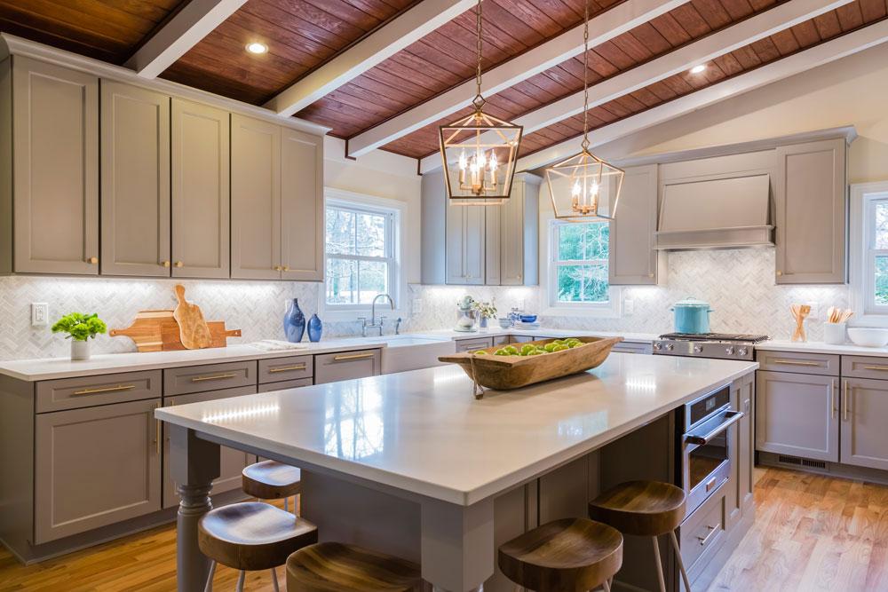 Grey farmhouse kitchen cabinets