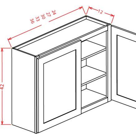 "TD-W2742 - 42"" High Wall Cabinet-Double Door  - 27 inch"
