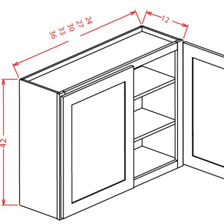 "SA-W2742 - 42"" High Wall Cabinet-Double Door  - 27 inch"
