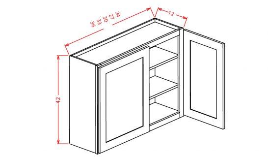 "YW-W2742 - 42"" High Wall Cabinet-Double Door  - 27 inch"