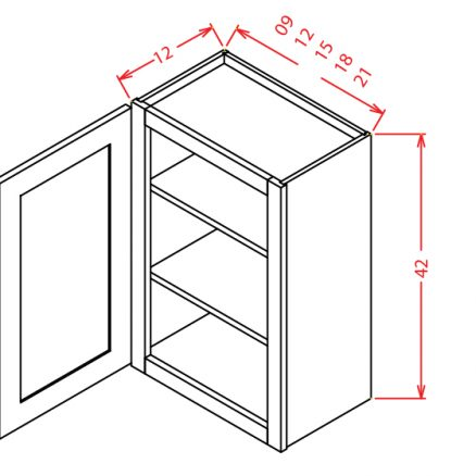 "SE-W0942 - 42"" High Wall Cabinet-Single Door  - 9 inch"