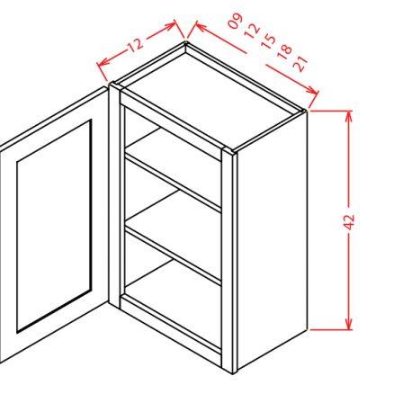 "CW-W0942 - 42"" High Wall Cabinet-Single Door  - 9 inch"
