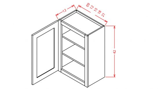 "TW-W0942 - 42"" High Wall Cabinet-Single Door  - 9 inch"