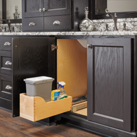 4WCSC-128-19-1 - Bottom Mount Maple Pullout w/ Single 8 qt Waste Container and Blum Soft-Close