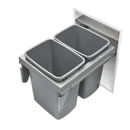 53TM-1835GSCDM2-FL - Steel Top Mount Double 35 qt Waste Container Pullout w/ Soft-Close