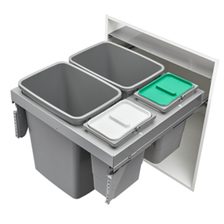 53TM-24GSCDM4-FL - Steel Top Mount Double 35 qt and Double 8 qt Waste Container Pullout w/ Soft-Close