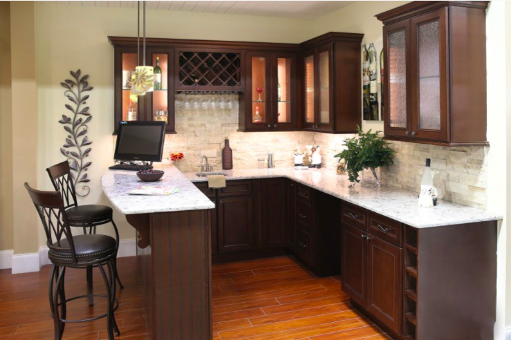cabinets in chocolate brown