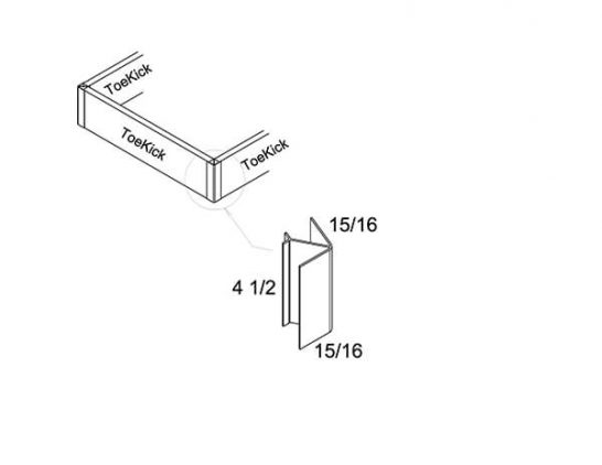 Corner-PVC - Moulding - Toe Kick - 0.75 inch