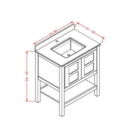 """A-PD-FVSET24 24"""" Furniture Vanity with 2 Doors"""