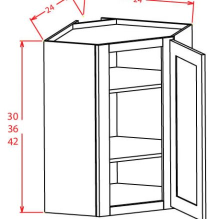 TD-DCW2412GD - Diagonal Corner Stacker Wall Cabinets - 24 inch