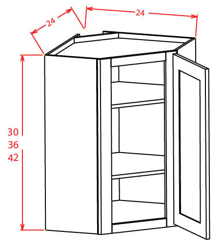 SC-DCW2412GD - Diagonal Corner Stacker Wall Cabinets - 24 inch