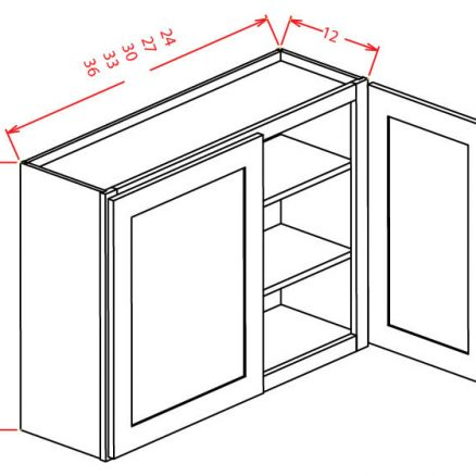 """SS-W3636 - 36"""" High Wall Cabinet-Double Door  - 18 inch"""
