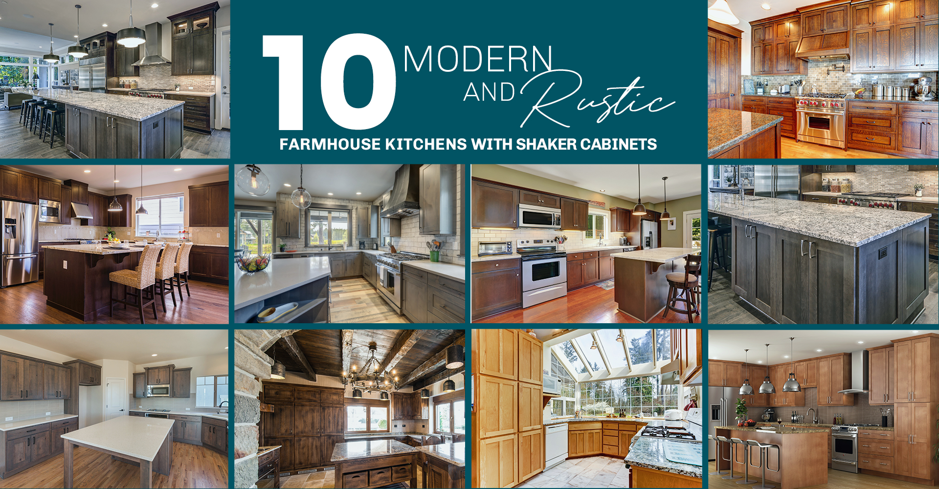 10 Modern and Rustic Farmhouse Kitchens with Shaker Cabinets