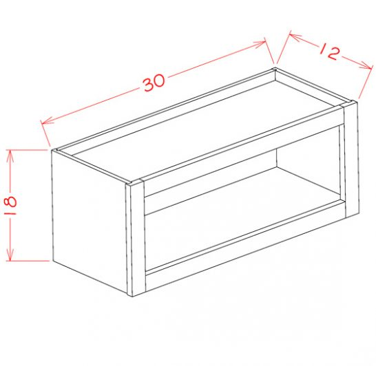 WOC3018 White - Wall Open Cabinet