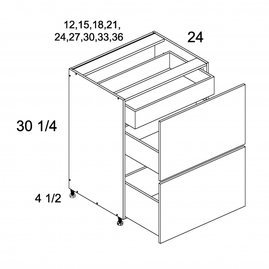 TDW-2DBID21 - Two Drawer Bases with Inner Drawer - 21 inch