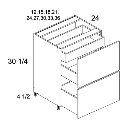 TDW-2DBID30 - Two Drawer Bases with Inner Drawer - 30 inch